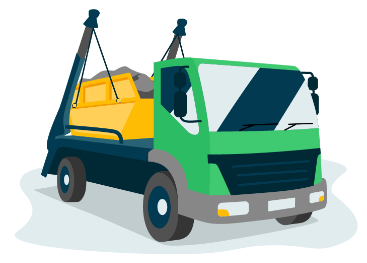 Skip being collected by a skip lorry