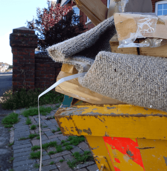 close up of a skip full of household waste