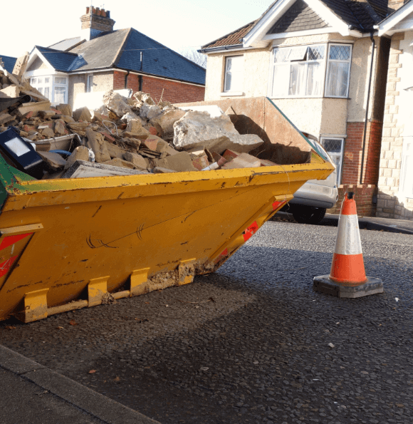 skip on a residential road